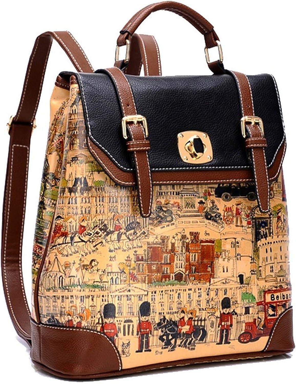 Cute colorful Cartoon British Knight Print Flap Book Bag Backpack Handbag
