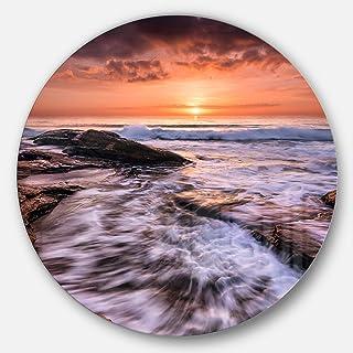 Designart Waves Hitting Rocky Beach Burgas Bay Contemporary Seascape Circle Wall Art Disc of 11 inch, 11'' H x 11'' W x ...