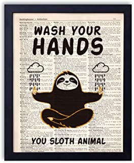 yuzi-n Sloth Bathroom Quotes and Sayings Vintage Book Art Prints - Funny Sloth Meditation Gifts Decor - Great Gift for Bathroom Decor - 8x10 Unframed (Hands)