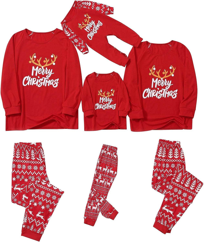 Goldweather Family Matching Pajamas Merry Christmas Letter Print Long Sleeve Tops + Plaid Pants Pjs Sleepwear Sets Loungewear