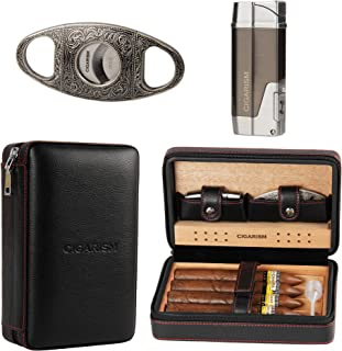 CIGARISM Cedar Lined Cigar Case Travel Humidor W/Cutter Lighter Set 4 Count (Black)