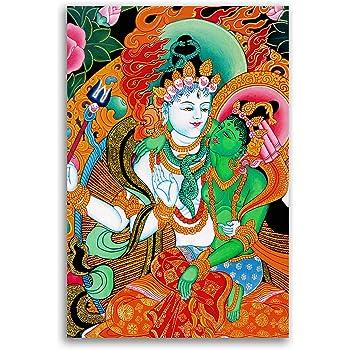 Tamatina Kerala Mural Canvas Paintings Shiva Parvati Mahadev Paintings Traditional Art Paintings Paintings For Home Decor