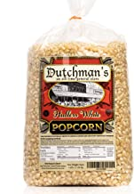 Dutchman's White Hulless Popcorn: Medium Virtually Hulless Popcorn Kernels for Popping in Microwave, Air Popper, Stovetop - Non GMO and Gluten Free Gourmet Popping Corn - 4 Pound Refill Bag