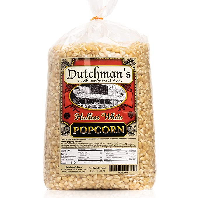 Dutchmans White Popcorn: Medium Popcorn Kernels  - Non GMO and Gluten Free Gourmet Popping Corn
