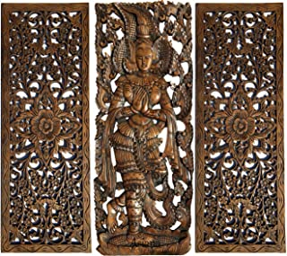 "Sawaddee Thai Greeting Figure and Floral Wood Carving Wall Decor Panels. Asian Home Decor Wall Art in Dark Brown Finish 35.5""x13.5 Each, Set of 3 Pcs (Figure A)"