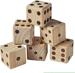 ECR4Kids Giant Wooden Yard Dice Set for Lawn Games -6 Jumbo Playing Dice with Dry-Erase Score Card and Canvas Carrying Bag