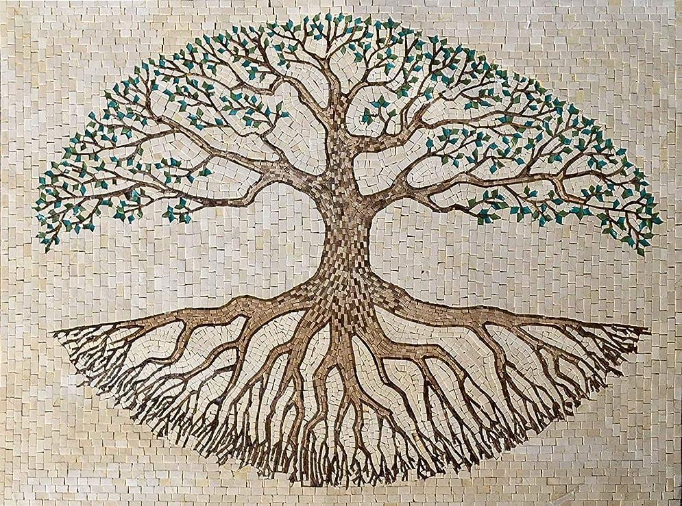 バーベキュー建物二次Tree of Lifeバージョンで大理石とガラスモザイクHand Made壁アート壁画