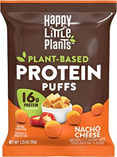 HAPPY LITTLE PLANTS Protein Puffs, Nacho Cheese, 1.25 Ounce (Pack of 12)