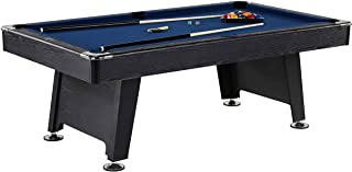 Thornton 7 Foot Billiard Game Room Table with Accessories - Includes Billiard Cues, Balls, Triangle, Chalk and Brush, Blac...