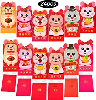 Red Money Envelope Cartoon Mouse Red Envelope Mouse Year Money Packet Rat Gift Envelopes for New Year Spring Festival Christmas Birthday Wedding Thank You Card Supply (24)