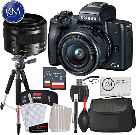Canon EOS M50 Mirrorless Camera w/15-45mm (Black) + 2 x 32GB + Deluxe Photo Bundle