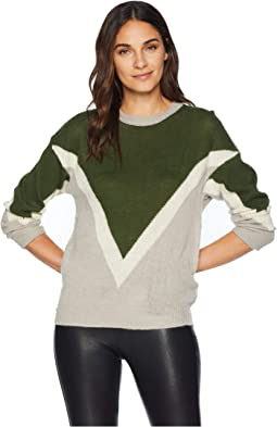 Color Block Chevron Pullover Sweater
