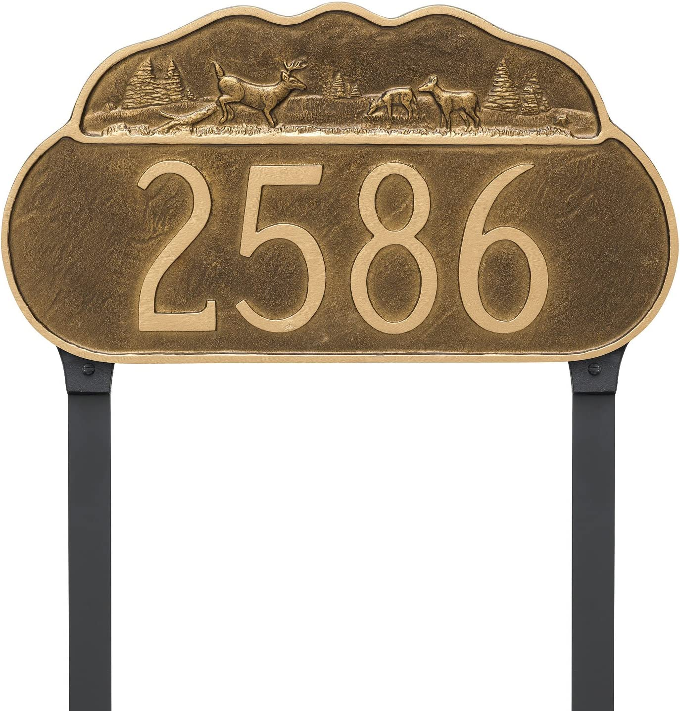 Montague Metal Deer Address Sign Plaque with Lawn Stakes, 8.5