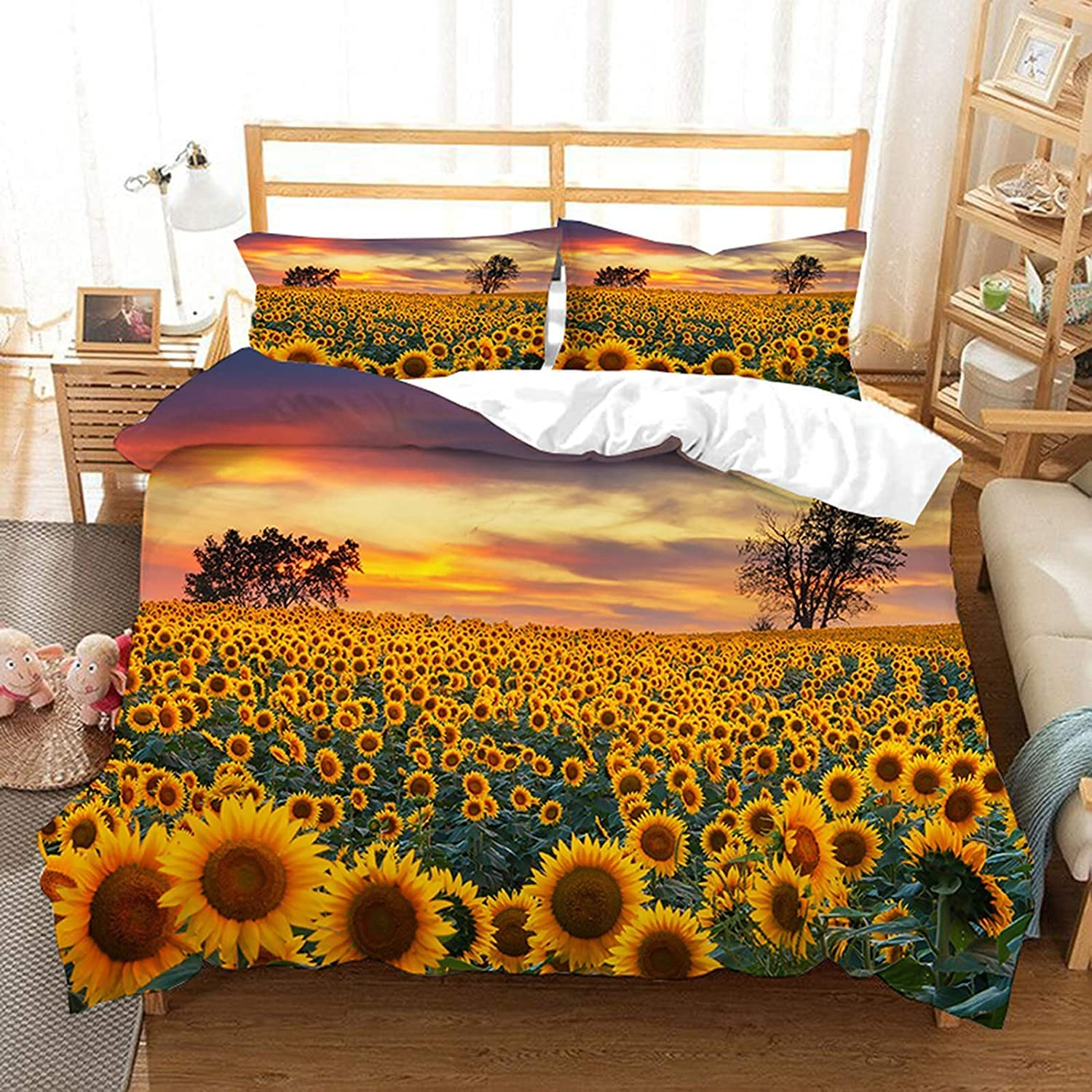 Tianzhihe Sunflower Max 76% OFF Duvet Cover Sets Twin Floral P 2 Size Yellow Max 83% OFF