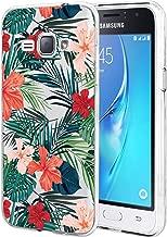 Galaxy Express 3 Case, Galaxy Luna Case, Galaxy J1 2016 Case BAISRKE Slim Shockproof Clear Floral Pattern Soft Flexible TPU Back Cove for Samsung Galaxy J1 J120/Luna/Express 3/Amp 2 [Palm Tree]