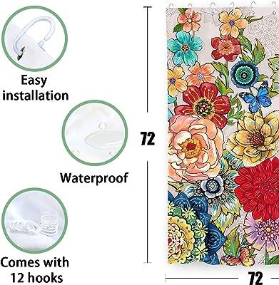 Accnicc Boho Floral Shower Curtain Set, Bright Flowers Bathroom Curtains Modern Bath Accessories Fabric Decor, 72'' × 72''