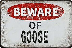 kexle Beware of Goose Vintage Metal Tin Sign Retro Funny Tin Sign for Wall Decor—8