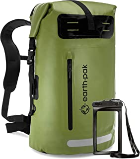 Skog Å Kust BackSåk Waterproof Floating Backpack with Exterior Zippered Pocket | for Kayaking, Rafting, Boating, Swimming, Camping, Hiking, Beach, Fishing | 25L & 35L Sizes Venture Pal 40L Lightweight Packable Waterproof Travel Hiking Backpack Daypack FE Active Dry Bag Waterproof Backpack - 30L Eco Friendly Bag for Men & Women for Fishing, Travel, Hiking, Beach & Survival Gear. Storage for Camera & Camping Accessories. | Designed in California, USA Earth Pak Waterproof Backpack: 35L / 55L Heavy Duty Roll-Top Closure with Easy Access Front-Zippered Pocket and Cushioned Padded Back Panel for Comfort; IPX8 Waterproof Phone Case Included