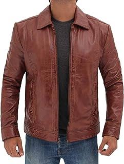 سترات جلدية للرجال - طوق قميص من الجلد باللون الأسود الحقيقي والبني الغامق