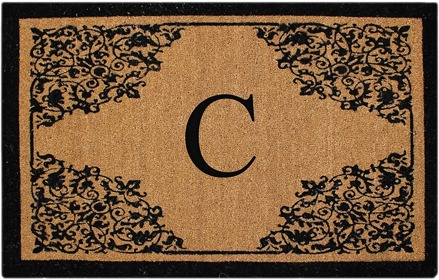 A1 HOME COLLECTIONS PT4013-CA1HC First Impression Monogram Hand Crafted by Artisans Floral Large Doormat, 30  x 48 , Beige Black