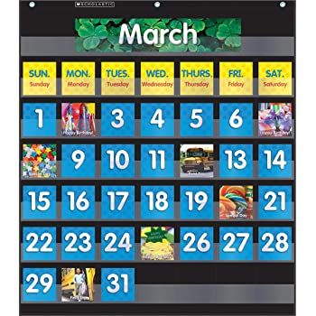 Scholastic Classroom Resources Pocket Chart Monthly Calendar, Black (SC583866)