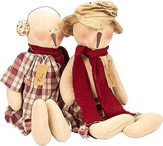 Sonny and Cher Snowman Couple 10 x 14.3 Plush Christmas Figurine Set of 2