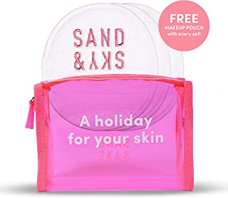 Sand & Sky Face Mitt 3 Pack. Reusable Makeup Remover Cloth Pads. Microfiber Cotton Wipes For Face. Includes Bonus Cosmetic Bag