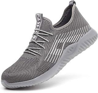 Gainsera Chaussures de sécurité légères perméables à l'air avec bout en acier pour hommes ou femmes - Gris - Gris D., 36 ...