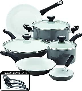 Farberware PURECOOK Ceramic Nonstick Cookware 12-Piece Pots and Pans Cookware Set, Gray