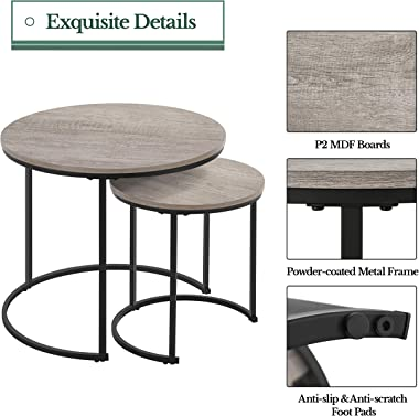 Yaheetech Nesting Coffee Table Set of 2, Rustic Stacking Side Tables, Nesting End Table Set w/Round Wooden Tabletop and Sturd