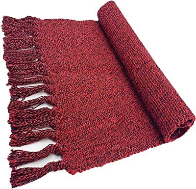 Dave Z-ONE Braided Rug Cotton Area Rug Hand Woven Reversible Floor Rug Pure Tassels Throw Rugs Door Mat Laundry Room Rug Indoor Runner Bathroom Tablecloth Wine Red 2' x 3'