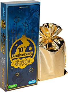 ASMD Dixit 10th Anniversary Expansion for Dixit Game    Bonus Gold Metallic Cloth Drawstring Storage Pouch    Bundled Items