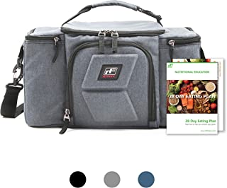 RitFit Upgraded 3 Meal Prep Bag for Adults, Fitness Insulated Lunch Box for Gym, Office, and Trips, Come with Shoulder Strap, 2 Ice Packs, 2 Free Recipe books And 3 BPA-free Containers