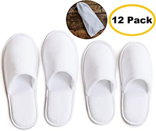 4b4daed8e581 ModLux Spa Slippers - 12 Pairs of Cotton Velvet Closed Toe Slippers with Travel  Bags – Thick