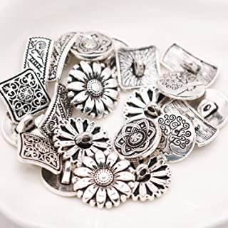 Pomeat 50 PCS Mixed Antique Silver Flower Decorative Metal Buttons for Sewing