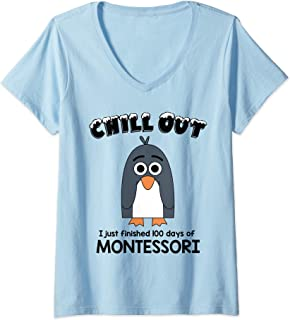 Womens 100th Day School T shirt Montessori Teacher 100 Days Penguin V-Neck T-Shirt