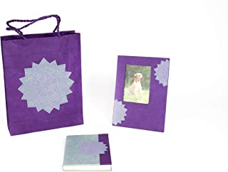 JAZZY SOUL Eco Gift Set: Handmade Mandala Lokta Paper Picture Frame 6x8in, Nepali Paper Journal and Natural Gift Bag - Vegan, Fair Trade and Environmentally Friendly Gift - Purple