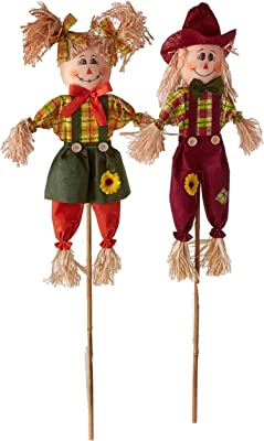 "Worth Imports 36"" Stick, Set of 2 Scarecrow"