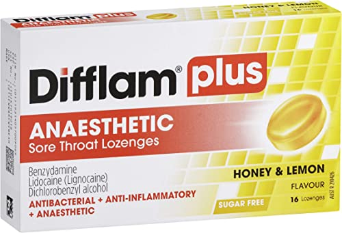 Difflam Difflam Plus Anaesthetic Sore Throat Lozenges,, Honey and Lemon 16 count