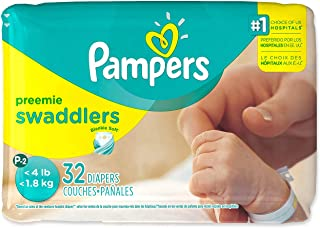 Pampers Swaddlers Preemie Size XS (P-2) Up to 4 lbs - 32 Diaper Count