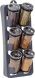 Amazon Brand - Solimo Spice Rack with 6 Jars, Black