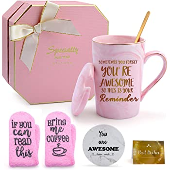Thank you Gifts for Women, Puchod You're Awesome Appreciation Gifts for Friends Female Funny Birthday Graduation Gifts with Coaster Socks Ideal for Wife Sister Mother Her Coworker Pink Mug 14oz