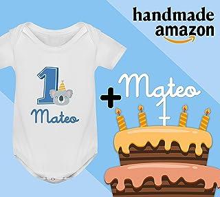 Conjunto regalo cumpleaños Cake Topper + Body o camiseta personalizado con el nombre decoración fiesta animales