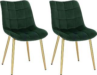 EUGAD Lot de 2 Chaises de Salle à Manger Chaise de Cuisine Assise en Velours, Pieds en métal doré,Vert Foncé 0705BY-2