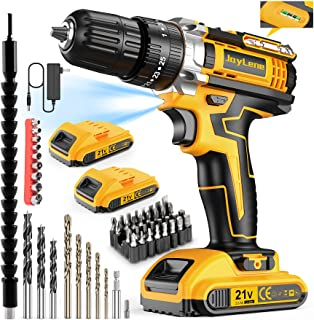 JayLene 21V Cordless Drill Set, Power Drill 59Pcs with 3/8 Inch Keyless Chuck, 25 3 Clutch Electric Drill with Work Light,...