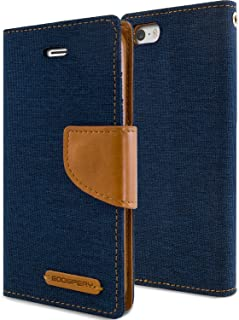 Goospery Canvas Wallet for Apple iPhone SE Case (2016) iPhone 5S Case (2013) iPhone 5 Case (2012) Denim Stand Flip Cover (Navy) IP5-CAN-NVY
