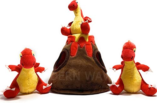MODERN WAVE - Squeaky Plush Dog Toy Volcano and Dragons - Interactive Hide and Seek
