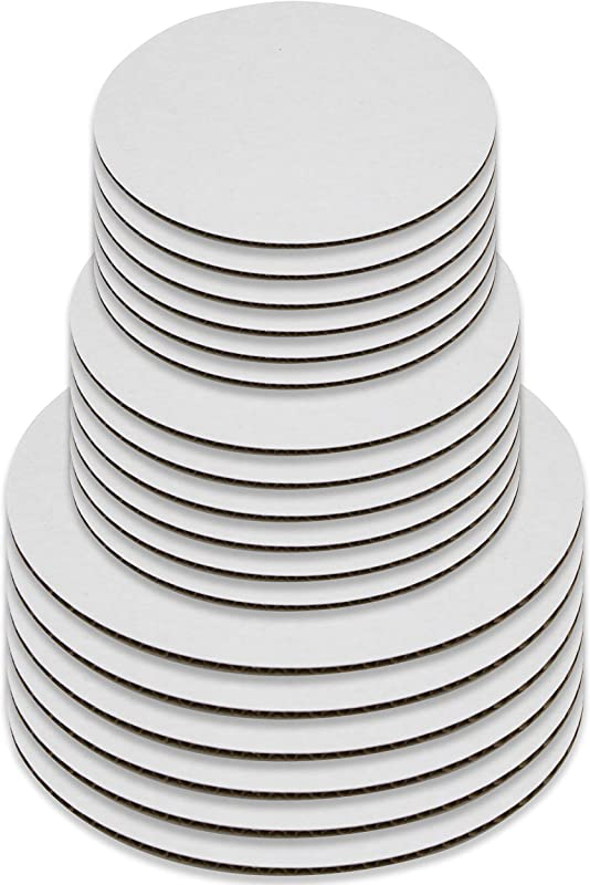 Upper Midland Products Cake Boards Set Of 18 White Cake Circle Bases 6 Inches 8 Inches And 10 Inches 6 Of Each 18