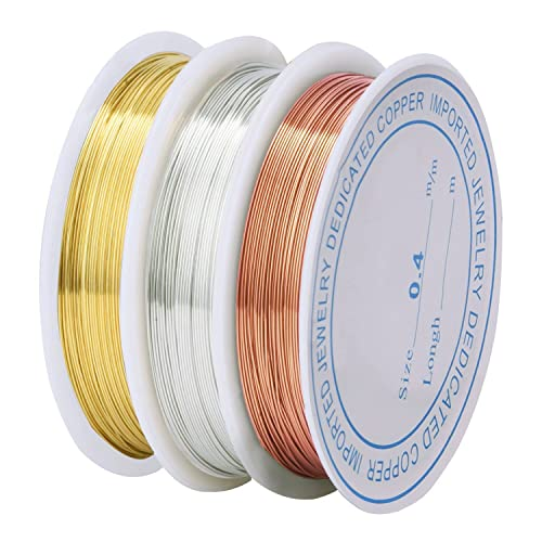 Tarnish Resistant Copper Wire Bare Copper Wire Beading Wires for Crafts and Jewelry Making, 0.4 mm, 3 Pieces
