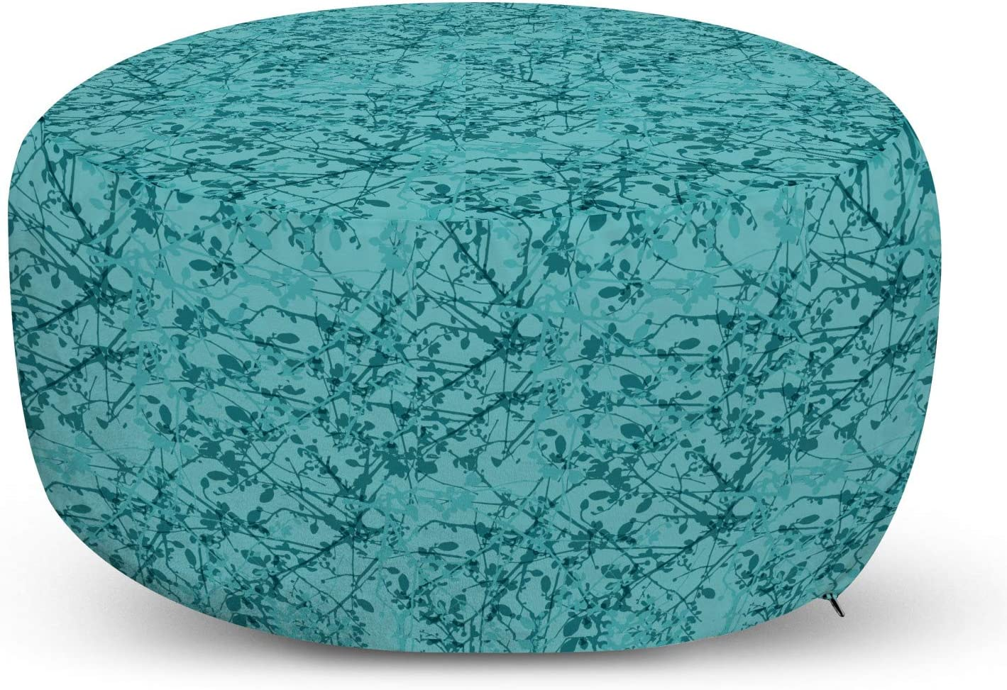 Ambesonne Long-awaited Teal Pouf Cover with security Drawing Zipper Inte Inspired Ink